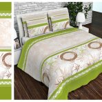 Постельное белье бамбук бежево-зеленый