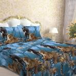 Постельное белье «Леопард и пантера на синем»