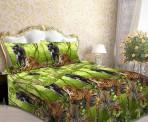 Постельное белье «Леопард и пантера на зеленом»