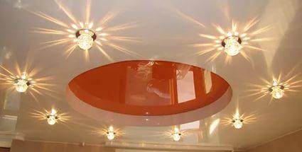 Освещение помещения точечными светильниками