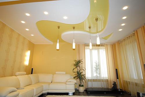 Цветовые решения потолка в интерьере